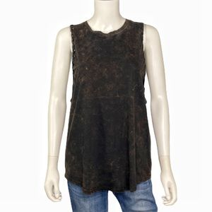 NEW Exist Black Brown Bleached Tank Top Size L
